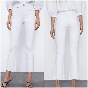 Zara ropped flare mid-rise white jeans
